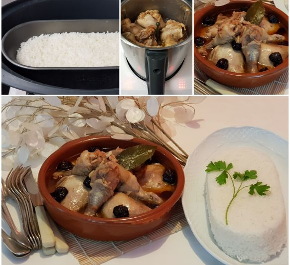 POLLO A LA CATALANA con arroz blanco al vapor